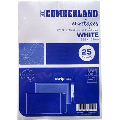 Image for CUMBERLAND C5 ENVELOPES POCKET PLAINFACE STRIP SEAL 85GSM 162 X 229MM WHITE PACK 25 from Paul John Office National