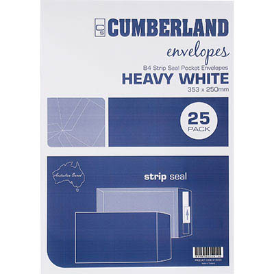 Image for CUMBERLAND B4 ENVELOPES POCKET PLAINFACE STRIP SEAL 100GSM 353 X 250MM WHITE PACK 25 from Office National Perth CBD