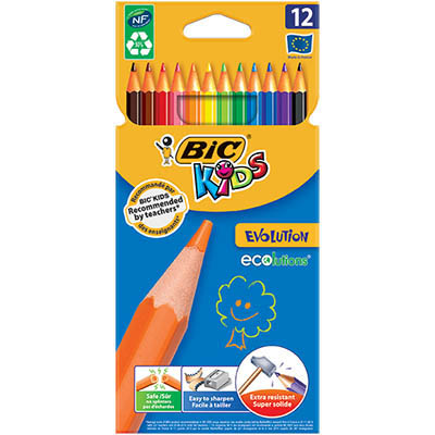 Image for BIC KIDS EVOLUTION COLOURING PENCIL ASSORTED PACK 12 from Paul John Office National
