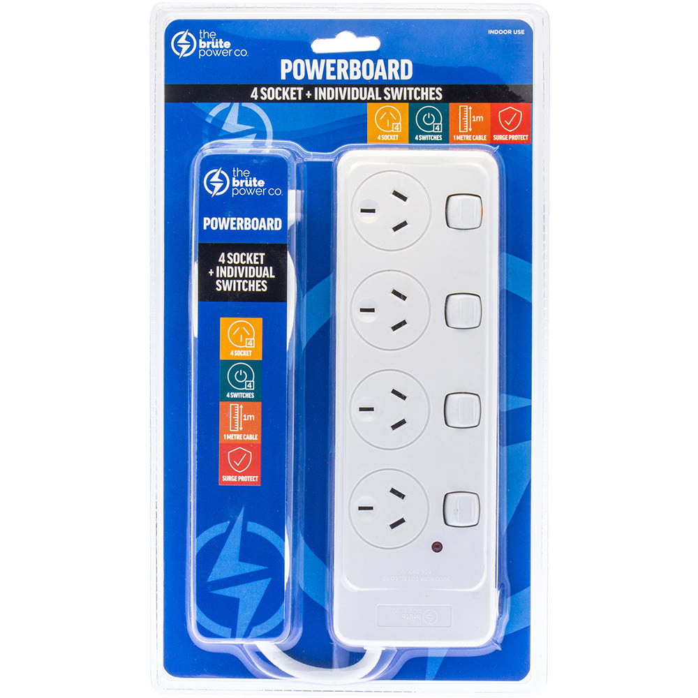 Image for THE BRUTE POWER CO POWERBOARD 4 OUTLET WITH INDIVIDUAL SWITCHES from Office National Capalaba