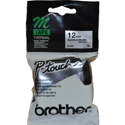 Image for BROTHER M-931 NON LAMINATED LABELLING TAPE 12MM BLACK ON SILVER from Wetherill Park / Smithfield Office National