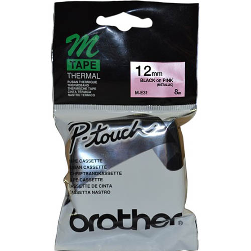 Image for BROTHER M-E31 NON LAMINATED LABELLING TAPE 12MM BLACK ON PINK from Wetherill Park / Smithfield Office National