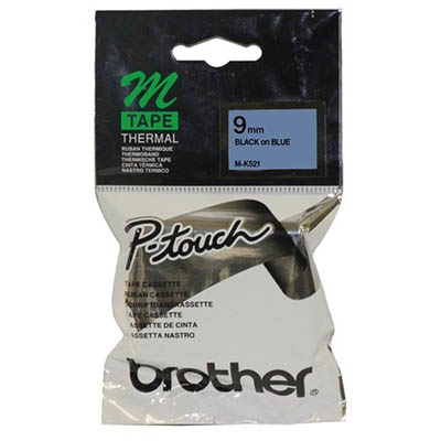 Image for BROTHER M-K521 LAMINATED LABELLING TAPE 9MM BLACK ON BLUE from Wetherill Park / Smithfield Office National