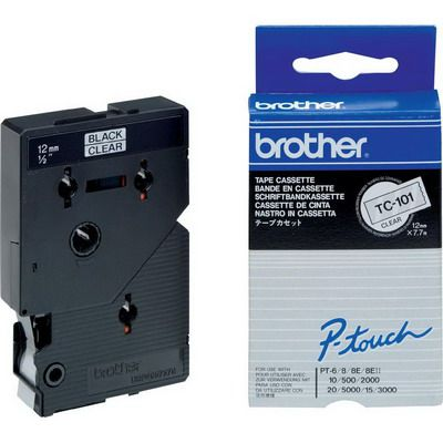 Image for BROTHER TC-101 LAMINATED LABELLING TAPE 12MM BLACK ON CLEAR from Express Office National