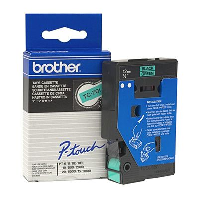 Image for BROTHER TC-701 LAMINATED LABELLING TAPE 12MM BLACK ON GREEN from Express Office National