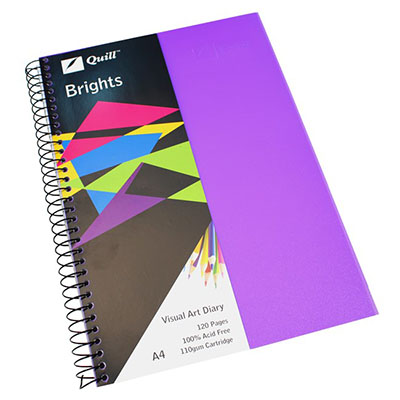 Image for QUILL VISUAL ART DIARY 110GSM 120 PAGE A4 PP DARK PURPLE from Wetherill Park / Smithfield Office National