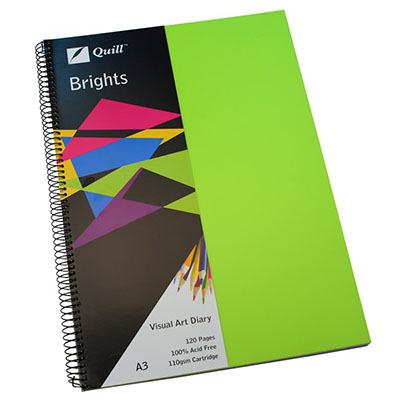 Image for QUILL VISUAL ART DIARY 110GSM 120 PAGE A3 PP LIME GREEN from Wetherill Park / Smithfield Office National