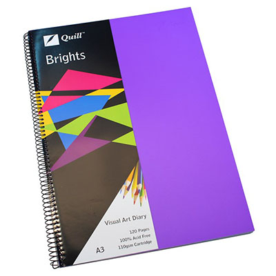 Image for QUILL VISUAL ART DIARY 110GSM 120 PAGE A3 PP DARK PURPLE from Wetherill Park / Smithfield Office National