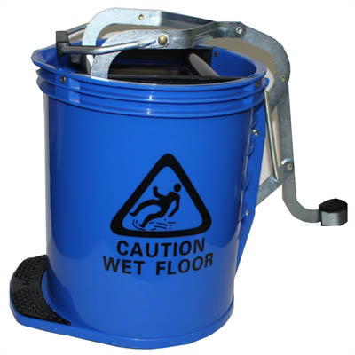Image for CLEANLINK MOP BUCKET HEAVY DUTY WITH METAL WRINGER BLUE from Office National Limestone Coast