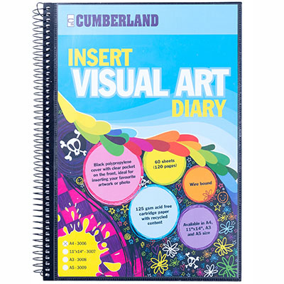 Image for CUMBERLAND VISUAL ART DIARY WITH INSERT COVER SINGLE SPIRAL A4 BLACK from SBA Office National