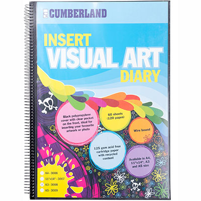 Image for CUMBERLAND VISUAL ART DIARY WITH INSERT COVER SINGLE SPIRAL A3 BLACK from SBA Office National