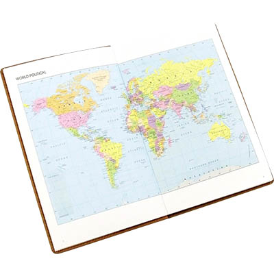 Image for CUMBERLAND TRAVEL DIARY GLOBE DESIGN WITH CLEAR PVC COVER 150 X 95MM from Office National Perth CBD