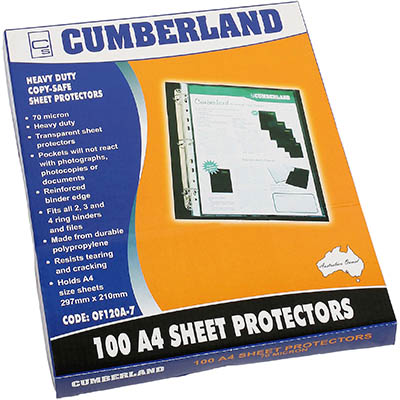 Image for CUMBERLAND SHEET PROTECTOR COPY SAFE 40 MU A4 CLEAR BOX 100 from Paul John Office National