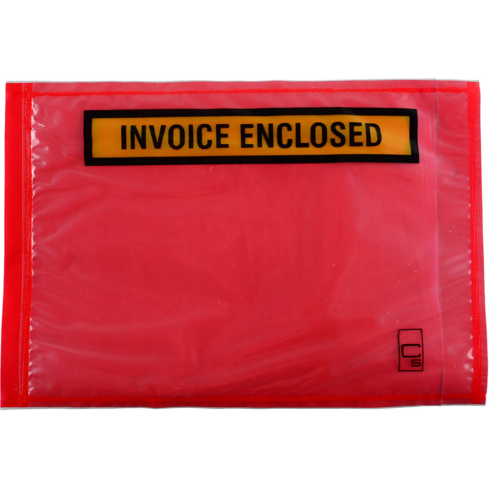 Image for CUMBERLAND PACKAGING ENVELOPE INVOICE ENCLOSED 155 X 115MM RED BOX 1000 from The Paper Bahn Office National