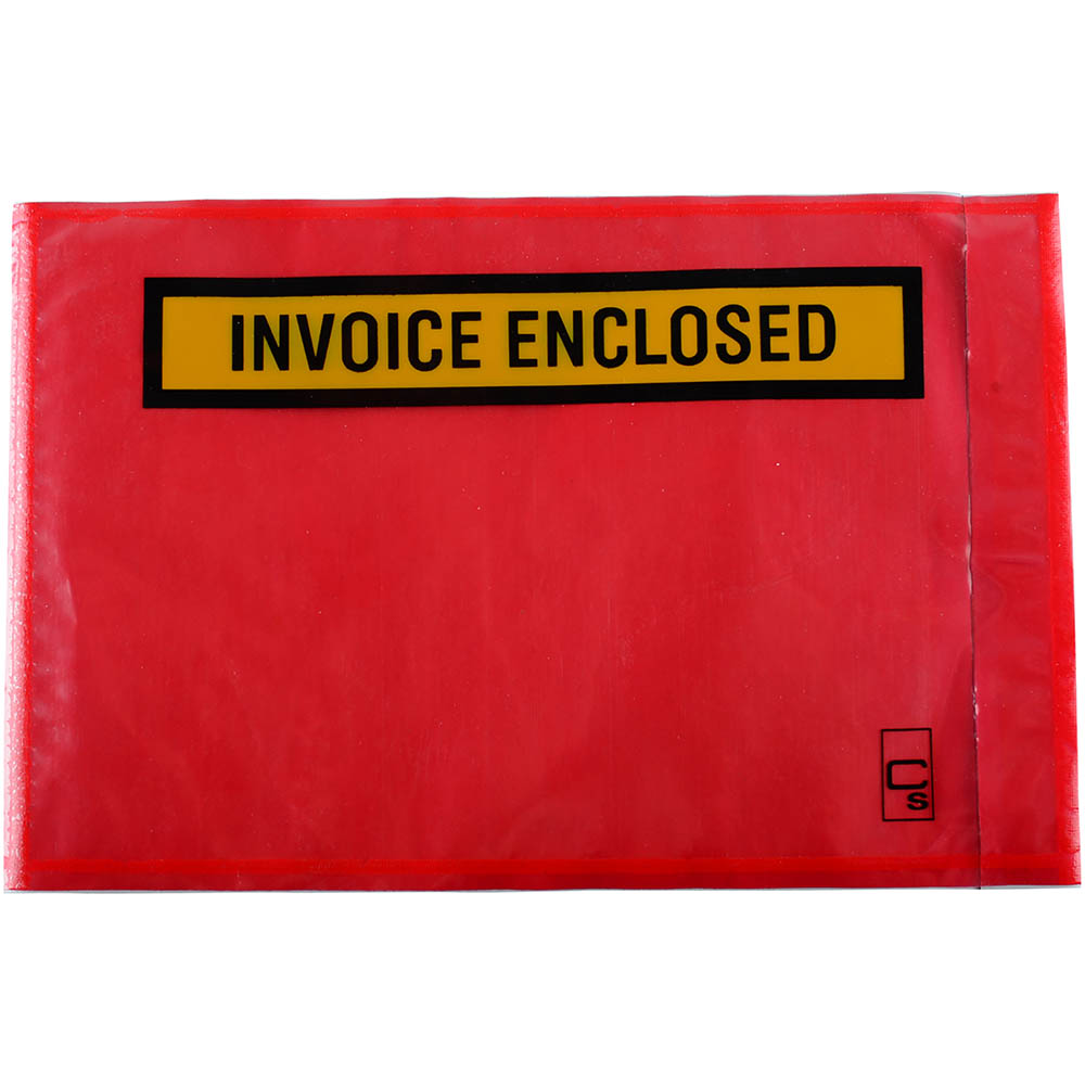Image for CUMBERLAND PACKAGING ENVELOPE INVOICE ENCLOSED 175 X 115MM RED PACK 1000 from Office National Kalgoorlie