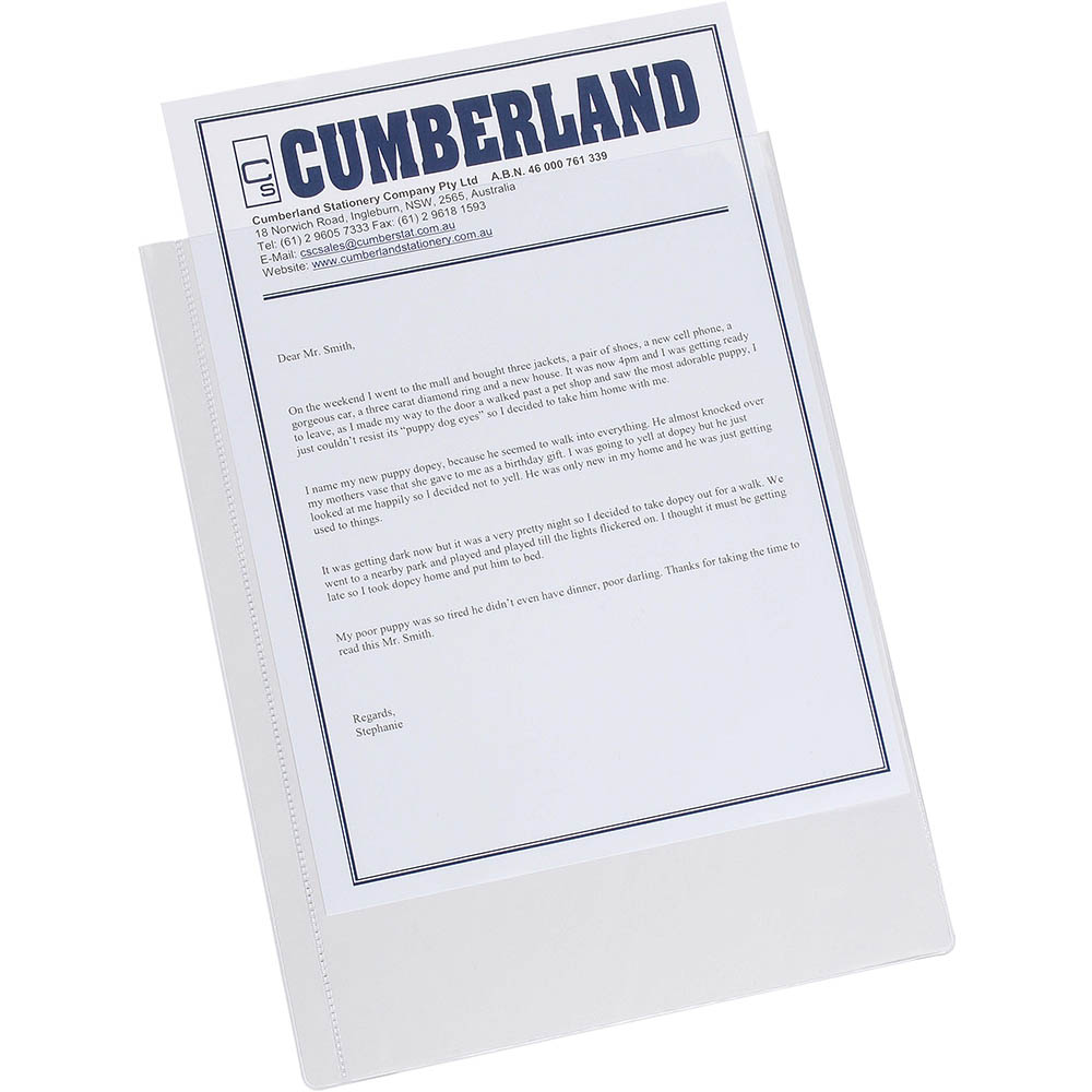 Image for CUMBERLAND SHEET PROTECTOR UNPUNCHED A4 CLEAR PACK 25 from Axsel Office National