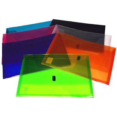 Image for POP POLYWALLY WALLET HOOK AND LOOP CLOSURE 30MM GUSSET FOOLSCAP ASSORTED PACK 12 from Paul John Office National