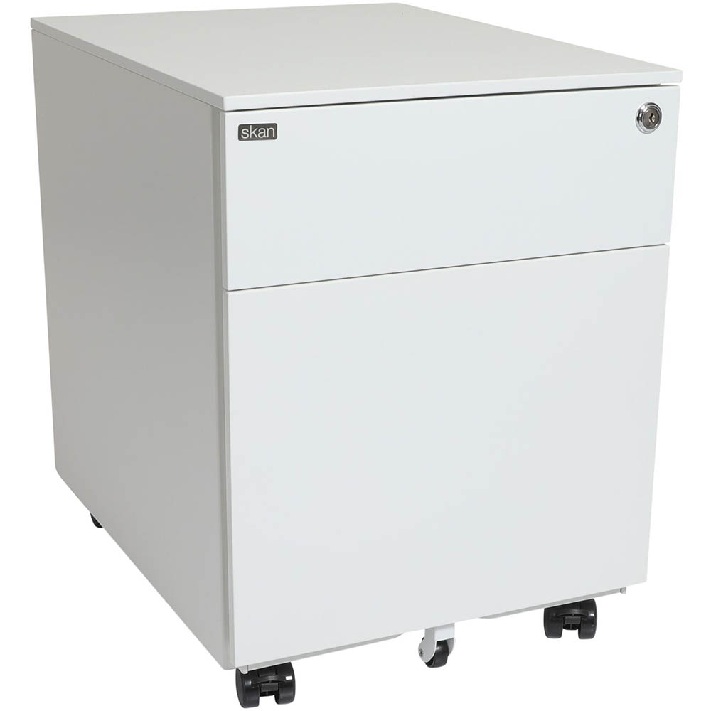 Image for SKAN SIT-STAND MOBILE PEDESTAL 1 SHALLOW AND 1 FILE DRAWER 510 X 520 X 390MM WHITE POWDERCOAT from Office National Sydney Stationery