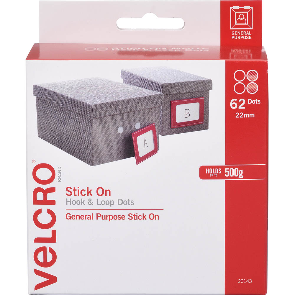 Image for VELCRO BRAND STICK-ON HOOK AND LOOP DOTS 22MM WHITE PACK 62 from Axsel Office National