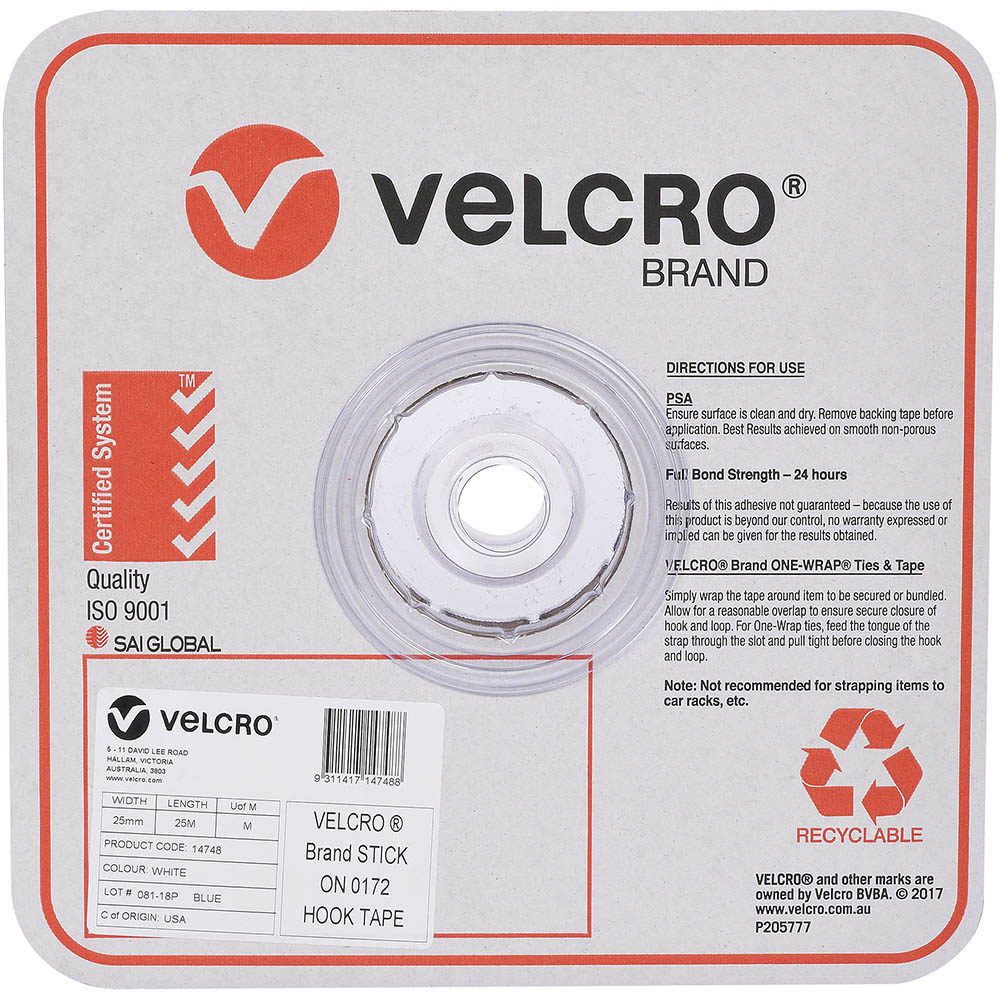 Image for VELCRO BRAND STICK-ON HOOK TAPE 25MM X 25M WHITE from Axsel Office National