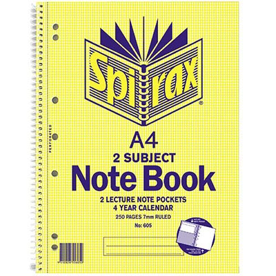 Image for SPIRAX 605 2 SUBJECT NOTEBOOK 7MM RULED SPIRAL BOUND 250 PAGE A4 from Office National Perth CBD