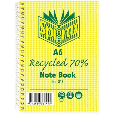 Image for SPIRAX 813 NOTEBOOK 7MM RULED 70% RECYCLED CARDBOARD COVER SPIRAL BOUND A6 100 PAGE from Axsel Office National