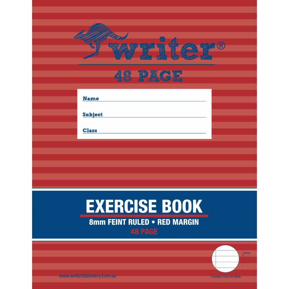 Image for WRITER EXERCISE BOOK FEINT RULED 8MM 60GSM 48 PAGE 225 X 175MM from Our Town & Country Office National