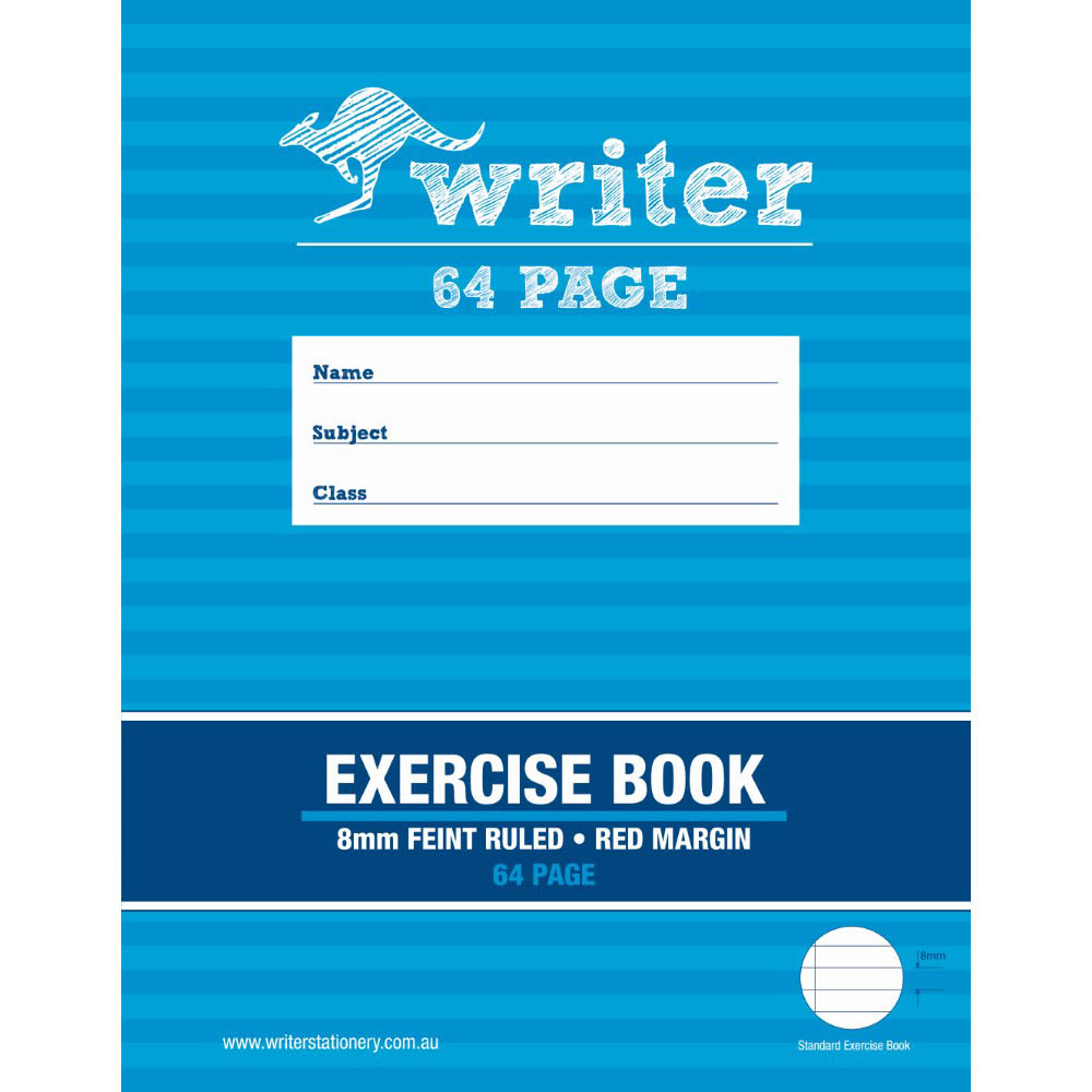 Image for WRITER EXERCISE BOOK FEINT RULED 8MM 60GSM 64 PAGE 225 X 175MM from Wetherill Park / Smithfield Office National
