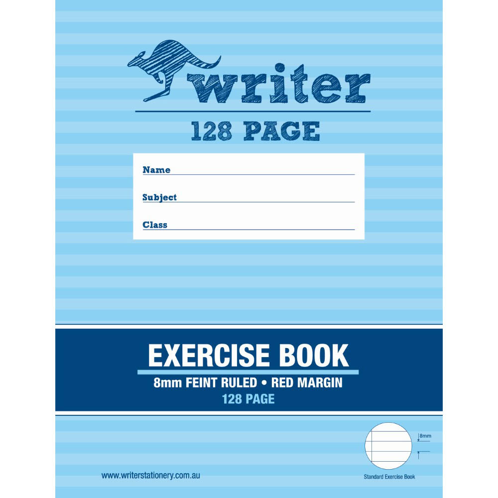 Image for WRITER EXERCISE BOOK FEINT RULED 8MM 60GSM 128 PAGE 225 X 175MM from Wetherill Park / Smithfield Office National