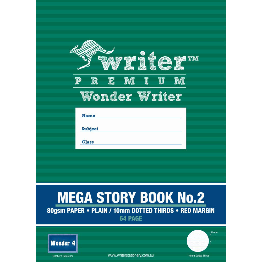 Image for WRITER PREMIUM MEGA STORY BOOK NO.2 10MM DOTTED THIRDS 80GSM 64 PAGE 330 X 240MM WONDER 4 from Our Town & Country Office National