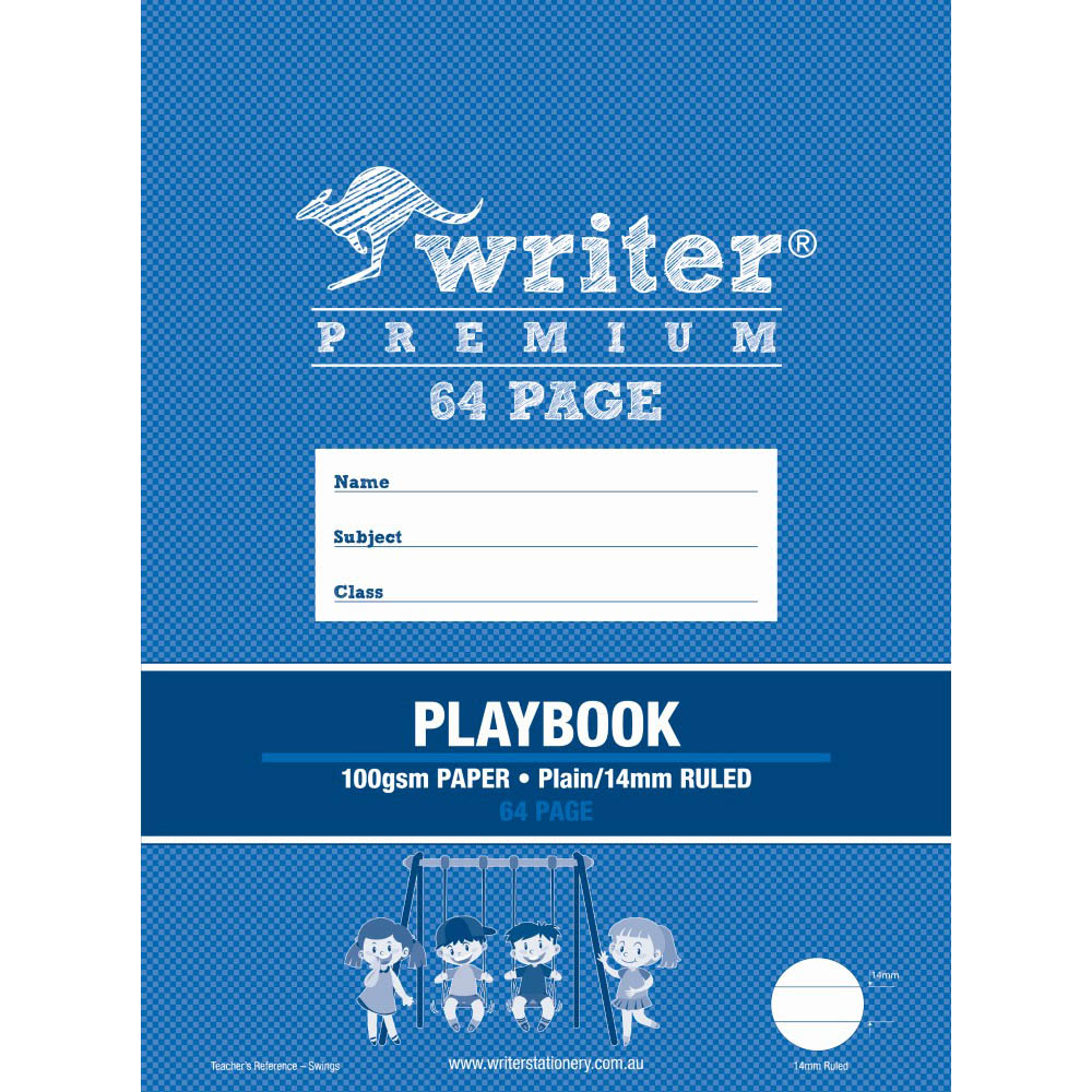 Image for WRITER PREMIUM PLAYBOOK 14MM PLAIN/RULED 100GSM 64 PAGE 330 X 240MM SWINGS from Our Town & Country Office National