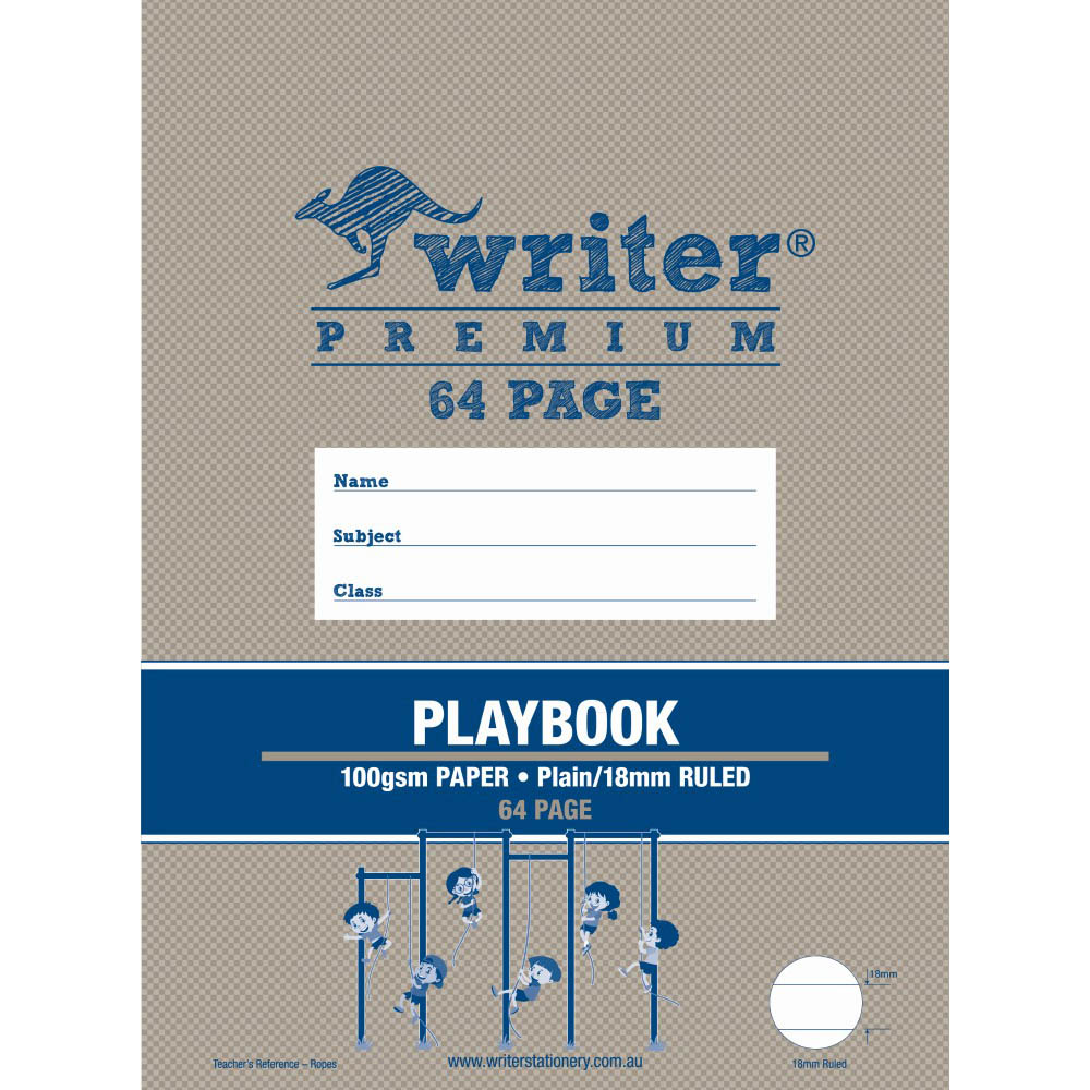 Image for WRITER PREMIUM PLAYBOOK 18MM PLAIN/RULED 100GSM 64 PAGE 330 X 240MM ROPES from Our Town & Country Office National