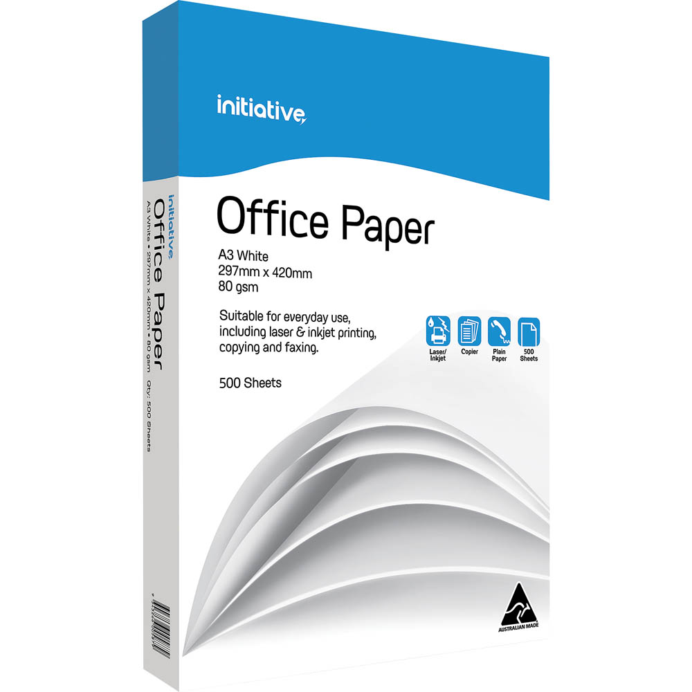 Image for INITIATIVE A3 OFFICE COPY PAPER 80GSM WHITE PACK 500 SHEETS from Wetherill Park / Smithfield Office National