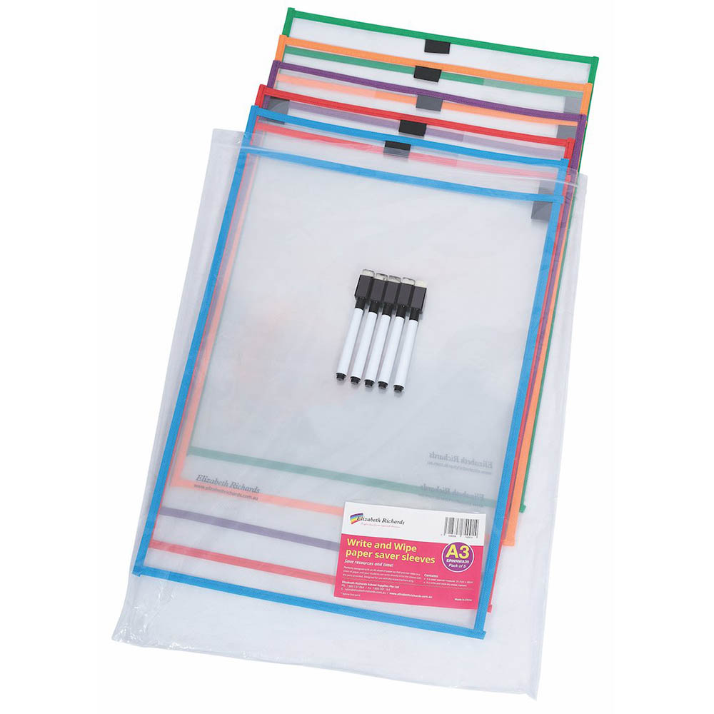 Image for ELIZABETH RICHARDS WRITE-N-WIPE PAPER SAVER SLEEVES INCLUDING PENS A3 PACK 5 from Wetherill Park / Smithfield Office National