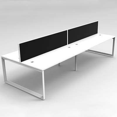 Image for RAPID INFINITY 4 PERSON LOOP LEG DOUBLE SIDED WORKSTATION WITH SCREEN 1200 X 700MM WHITE from Angletons Office National