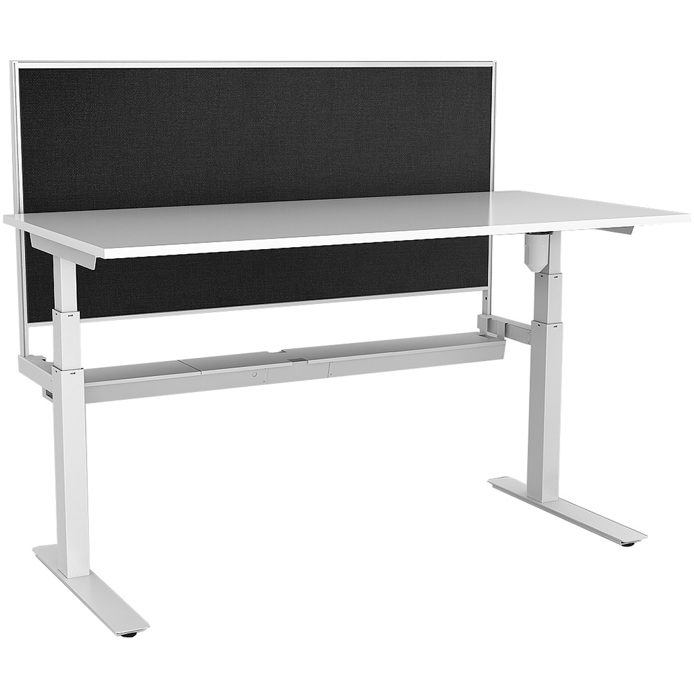 Image for RAPIDLINE PARAMOUNT SINGLE OPEN ELECTRIC HEIGHT ADJUSTABLE WORKSTATION WITH PRIVACY SCREEN 1800 X 750 X 607MM WHITE from Wetherill Park / Smithfield Office National