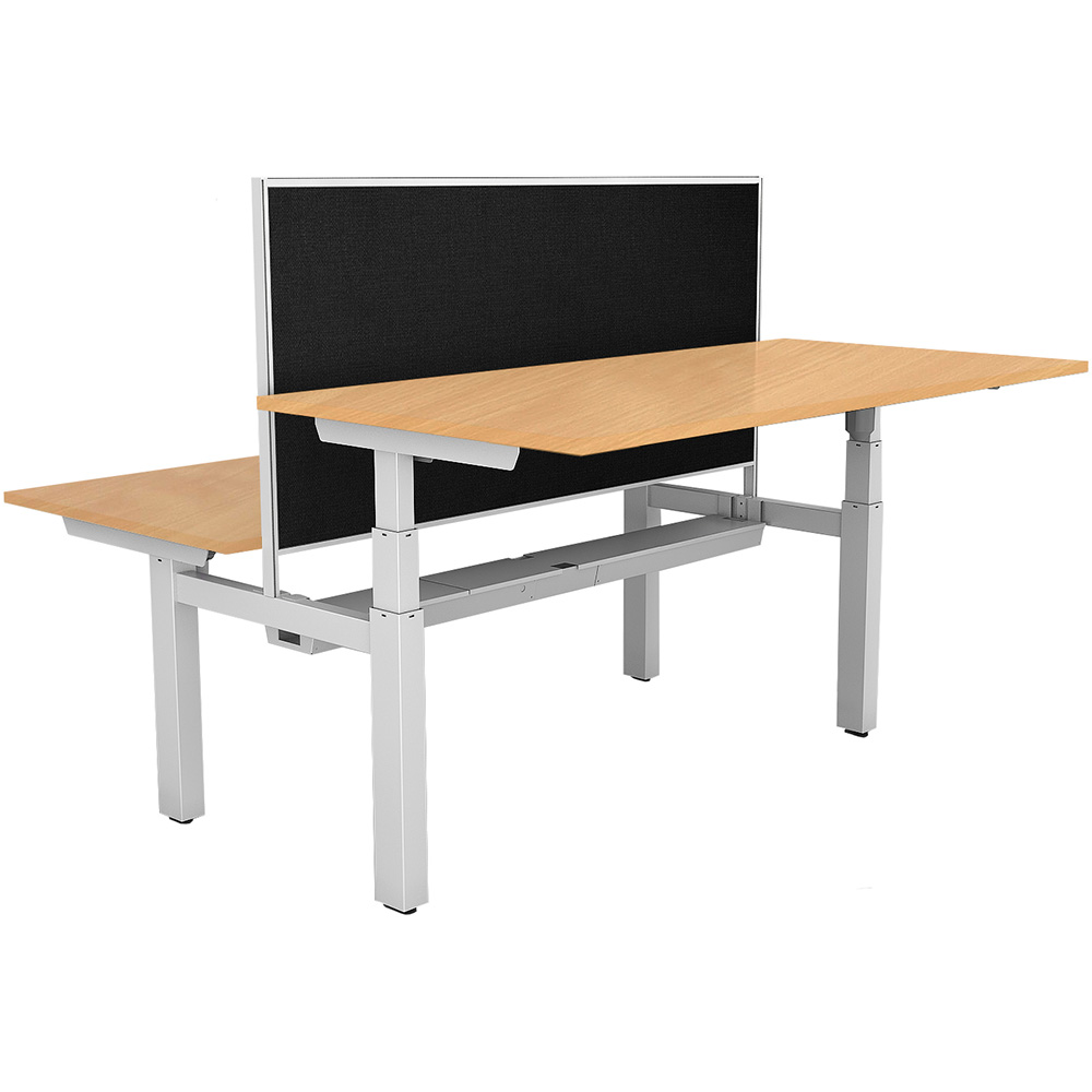 Image for RAPIDLINE PARAMOUNT 2 PERSON BACK TO BACK OPEN ELECTRIC HEIGHT ADJUSTABLE WORKSTATION WITH PRIVACY SCREEN 1800MM BEECH from Wetherill Park / Smithfield Office National