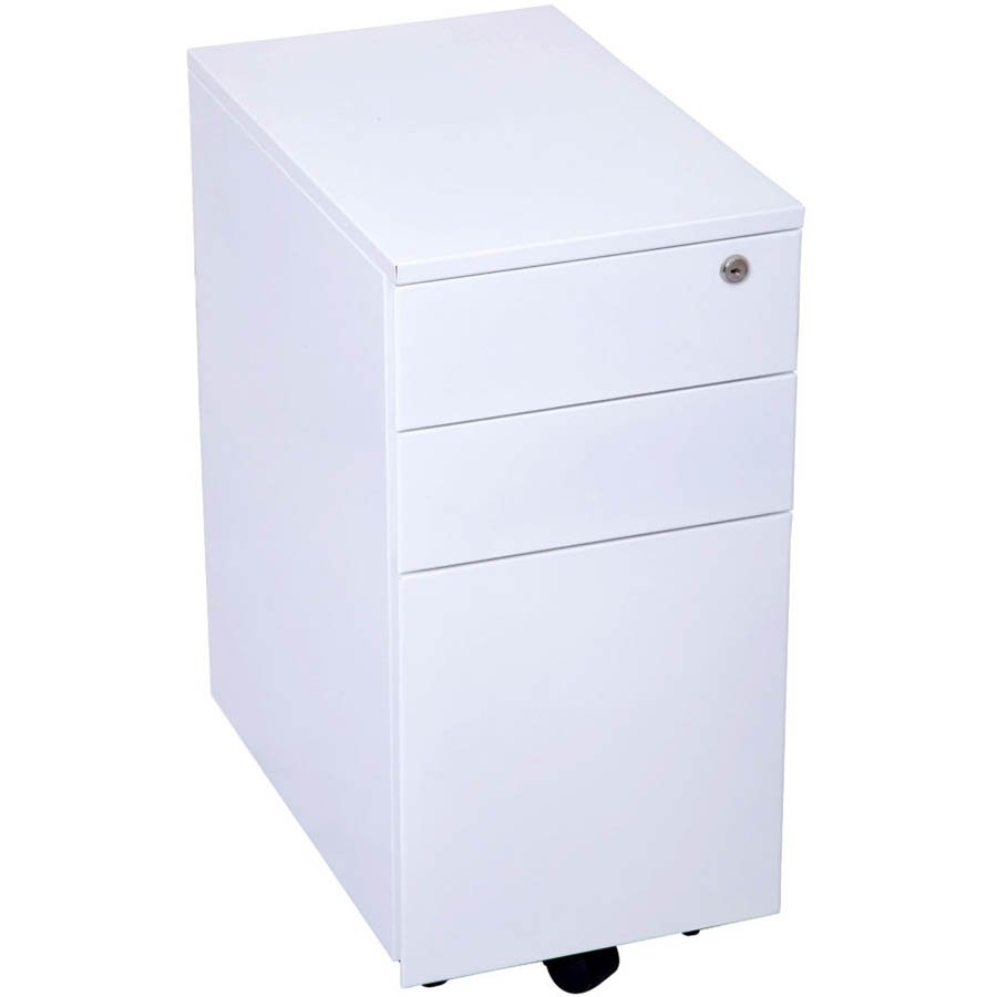 Image for GO STEEL SLIMLINE MOBILE PEDESTAL 3 DRAWER 300 X 472 X 610MM WHITE CHINA from Memo Office and Art