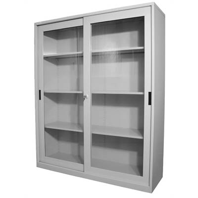 Image for STEELCO GLASS SLIDING DOOR CUPBOARD 3 SHELVES 1830 X 1500 X 465MM SILVER GREY from Wetherill Park / Smithfield Office National