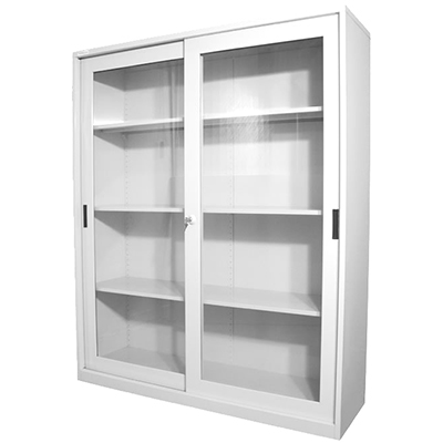 Image for STEELCO GLASS SLIDING DOOR CUPBOARD 3 SHELVES 1830 X 1500 X 465MM WHITE SATIN from Our Town & Country Office National