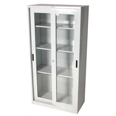 Image for STEELCO GLASS SLIDING DOOR CUPBOARD 3 SHELVES 1830 X 914 X 465MM SILVER GREY from Our Town & Country Office National