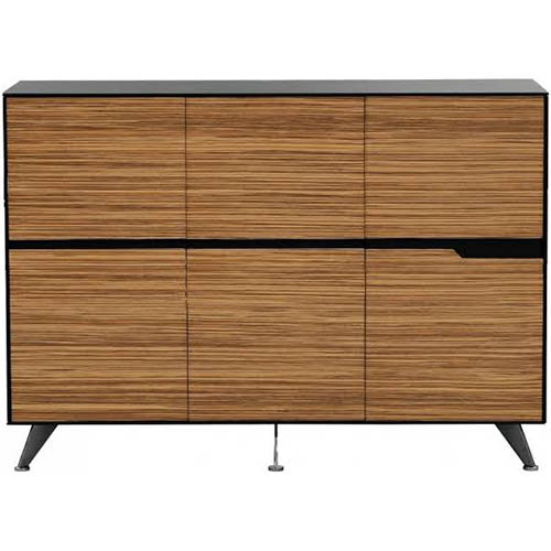 Image for NOVARA CABINET 6 DOOR 1825 X 425 X 1750MM ZEBRANO TIMBER VENEER from Our Town & Country Office National