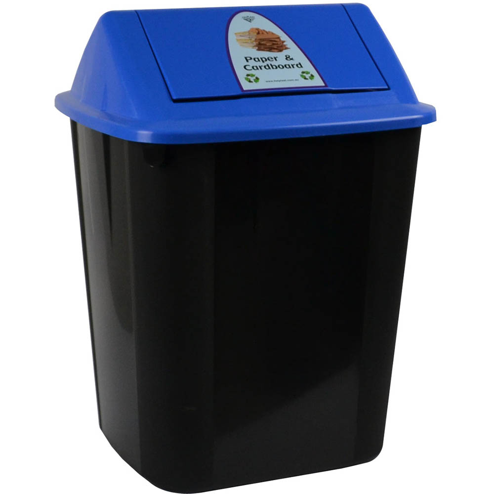 Image for ITALPLAST WASTE SEPARATION BIN WITH SWING TOP LID 32 LITRE PAPER AND CARDBOARD from The Paper Bahn Office National