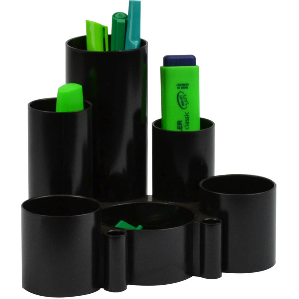 Image for ITALPLAST GREENR DESK TIDY 6 COMPARTMENT BLACK from Paul John Office National
