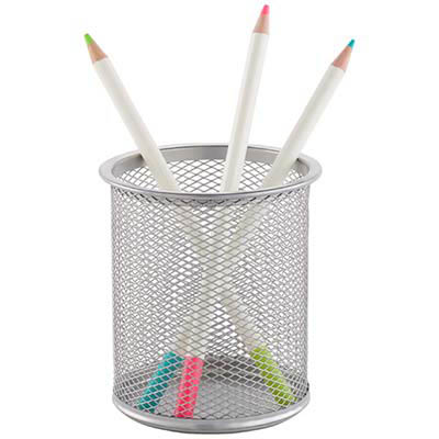Image for ITALPLAST WIRE MESH PEN / PENCIL CUP SILVER from Mackay Business Machines (MBM)