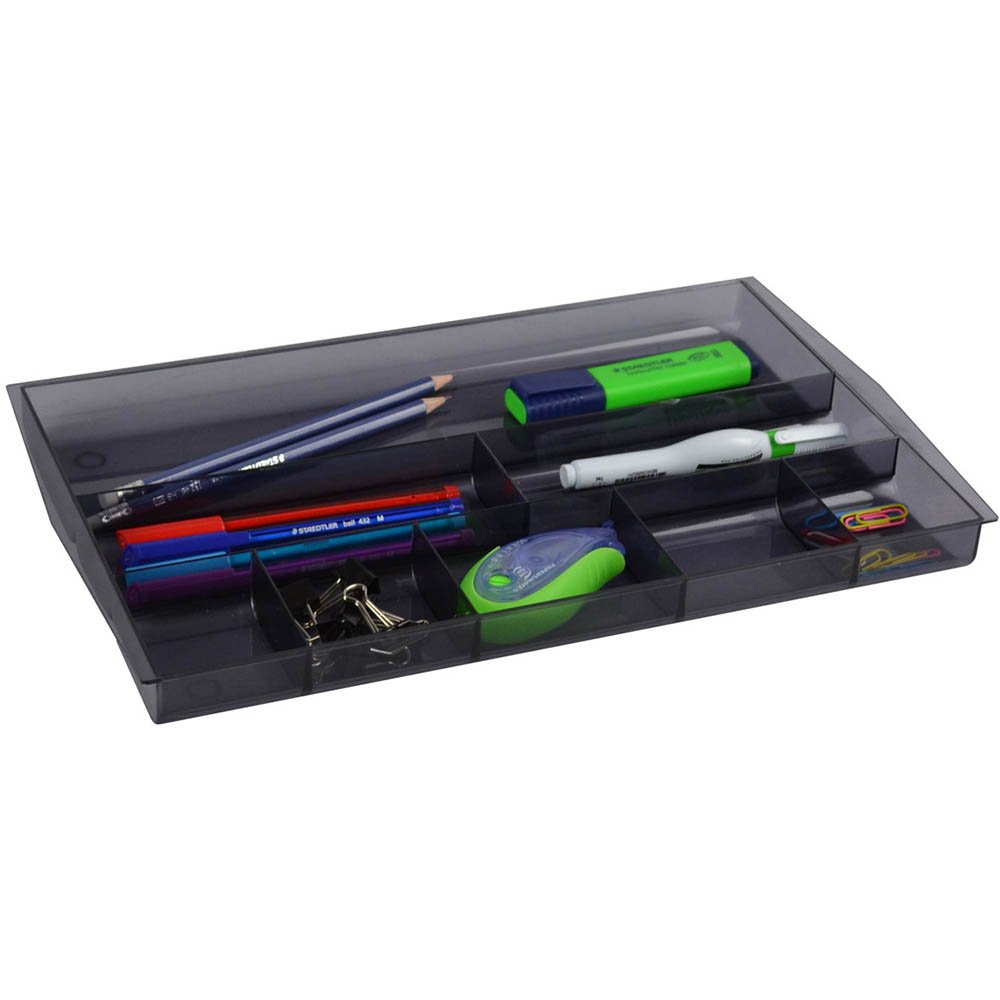 Image for ITALPLAST DRAWER TIDY 8 COMPARTMENT TINTED SMOKE from Axsel Office National