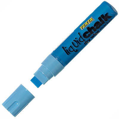 Image for TEXTA JUMBO LIQUID CHALK MARKER WET WIPE CHISEL 15MM BLUE from Axsel Office National