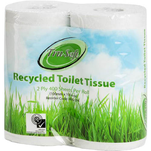 Image for TRU SOFT TOILET TISSUE RECYCLED 2 PLY 400 SHEET PACK 4 from Our Town & Country Office National