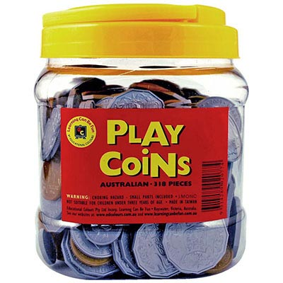 Image for LEARNING CAN BE FUN PLASTIC PLAY COINS ASSORTED TUB 318 from Our Town & Country Office National