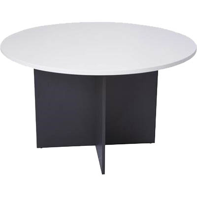 Image for OXLEY ROUND MEETING TABLE 900MM DIAMETER WHITE/IRONSTONE from Wetherill Park / Smithfield Office National